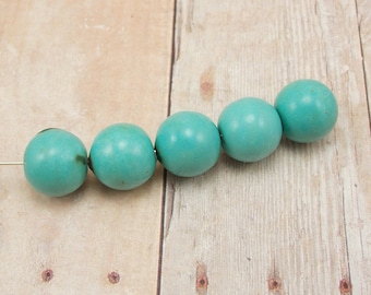 LAST ONES - Blue-Green Magnesite Beads - Aqua Blue - 12mm - 7 pieces - Turquoise Green