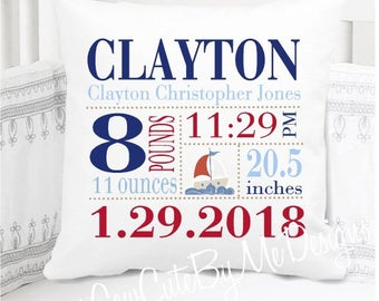 Boys Birth Announcement Pillow - Sailboat