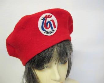 Vintage Red Beret Wool Beret French Beret