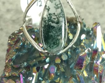 Moss Agate Ring, Size 10 1/2