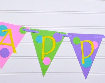 polka dot banner, happy birthday banner, bright party banner, polka dot birthday party decoration, bright party decor, polka dot baby shower