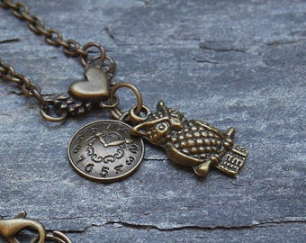 Owl necklace, bronze necklace, long necklace, bronze jewelry, clock necklace, christmas gift idea