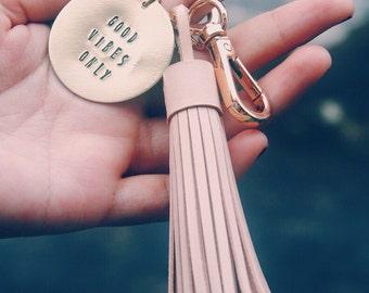 Leather Tassel Keychain, Teacher gift, Custom handstamped tassel keychain, Graduation Gift Keychain, Anniversary keychain, Gift for her