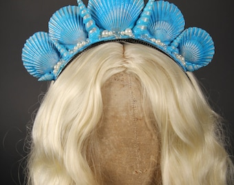 "Mermaid Crown: ""Aquata"" / Shell Crown / Mermaid Headpiece / Shells / Adult Costume Accessories / Daughters of Triton"