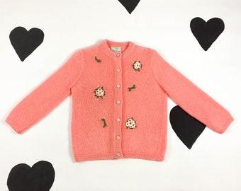 1960's 3D bouquet mohair wool knit sweater 60's fluffy cardigan peach pink neon day glow cardigan sweater / Bobbie Brooks / mod / kitsch / M