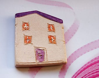 Valentines day  Frige Magnets - Purple house Ceramic magnets, Little clay house magnets, Kitchen magnets