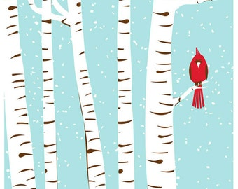 Winter Cardinal Bird Screenprint Art Print - Silkscreen Wall Art Handprinted - Snow and Birch Trees Art - Red Bird Art Print
