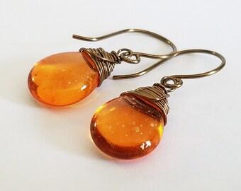 Orange Czech glass with gold speckles earrings - Antique Brass