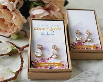 Gold drop earring, bridesmaid earring set, crystal drop earring, rhinestone earring, dangle earring, small drop earring, crystal stud, gift