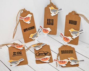 Bird gift tags, set of 6, twine included