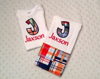 Baby Boy Personalized 2 Piece Gift Set  - Bodysuit and Burp Cloth- Madras Initial Applique