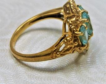 Synthetic Blue Zircon 10K Gold Ring, Gold Filigree Ring, Three Stone Ring, Statement Ring