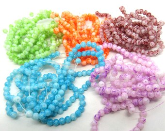4mm Mottled Glass Round Bead Strand  (B524a)