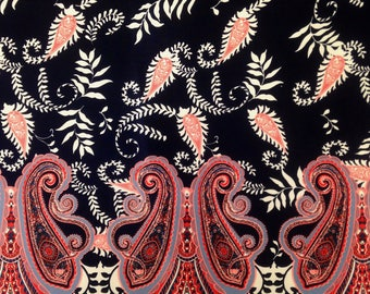 Border Paisley Pattern on Dark Navy Stretch Lightweight Knit Jersey Polyester Spandex Fabric - 58 to 60 Inches Wide - By the Yard or Bulk