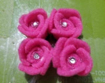 Felt Rose Embellishments, Scrapbook embellishments, Planner decoration