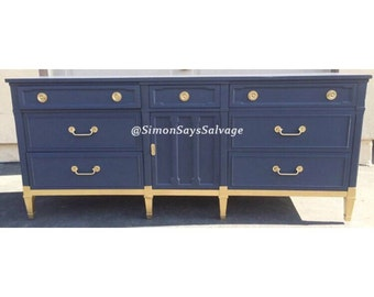 Mid Century modern Navy and Gold Dresser,Changing table, Credenza
