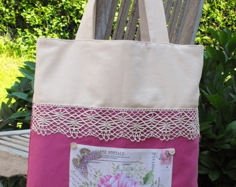 ecru and two-tone Fuchsia cotton shoulder bag decorated with lace and a flower motif