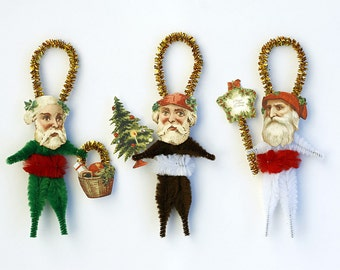 Christmas Santa Ornaments - Chenille Christmas Ornaments - Handmade Holiday Tree Ornaments