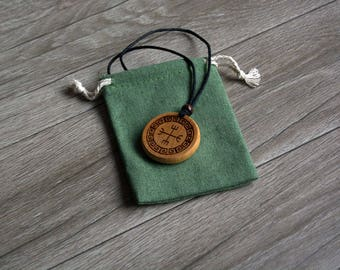 Rune End Strife-Icelandic magical stave meant to end the strife. Handmade Wooden Pendant. Viking Gifts.
