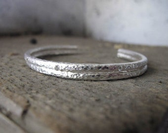 Pure Silver Cuff Bracelets one with 3 / 3pt Diamonds