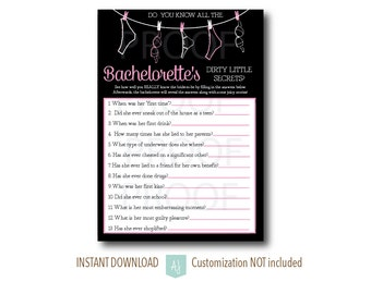 How Well do You know the Bachelorette- Party Game- Hens Party-Customization NOT included