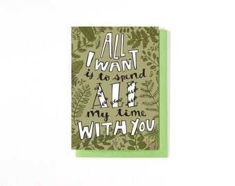 Long Distance Relationship Card - Love Card - Anniversary Card - I Love You - Miss You Card - Plant Illustration - Ferns - Valentine's Day