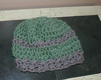 Green baby girl hat, Crochet Baby Cloche, Toddler Snow Hat, Infant Beanie, Baby Winter Hat, Baby Snow Hat, Crochet Cloche, Green Gray