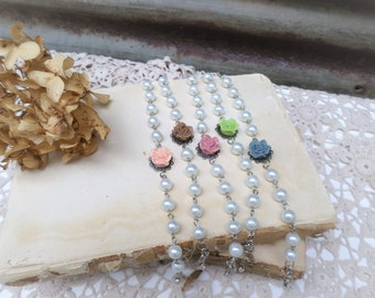 Shabby Vintage Style Pearl and Rose Cabochon Bracelet