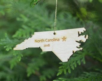 Natural Wood North Carolina State Ornament WITH 2018