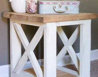 Custom Farmhouse End Table - Rustic Side Table - Living Room Table - Bedroom Table