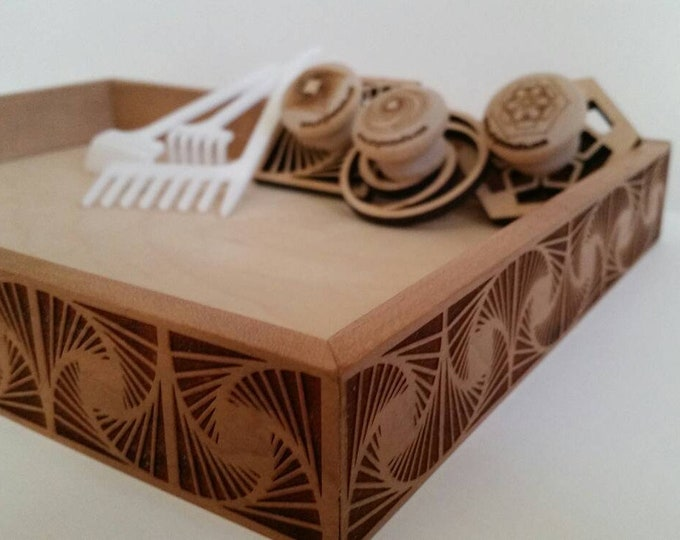 Zen Garden with Fanflare design, sand stamps and rakes