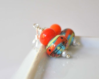 Abstract Earrings, Colorful Earrings, Lampwork Glass Earrings, Orange Earrings, Clear Glass Earrings