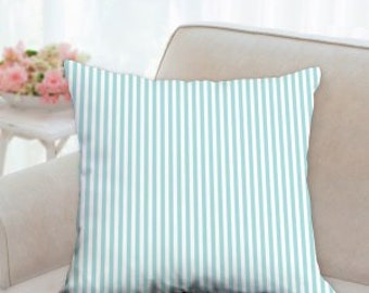 Boys Blue and White Striped Pillow