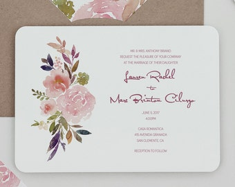 Rustic Mauve and Blush Floral Wedding Invitations Set ,Country Floral Wedding Invitations,Winter Floral Wedding Invites, Fall Floral Wedding