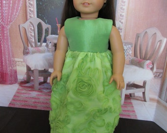 18'' Doll Lime Green Dress,Hand Made to Fit 18''Dolls, Party Dress, Wedding Dress, Formal Dress, Fancy Dress, Fancy Event Dress & Dress -up