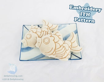 Taiyaki Fish Dessert Plush Embroidery File ITH Pattern Plushie Embroidery Pattern Download