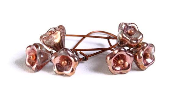 Handmade copper clear Czech bell flower floral dangle earrings (692)