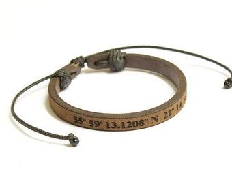 Latitude Longitude Bracelet, Personalized Bracelet, GPS Coordinates, Leather Bracelet, Custom Coordinates Bracelet