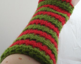Olive Green and Red Striped Crocheted Arm Warmers (size M-L) (SWG-AW-MJ07)