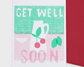 Get Well Soon card 'Cherries',  illustrated greeting, hand drawn card