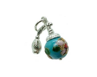 Sterling Silver Cloisonne Turquoise Atomiser Charm For Bracelets