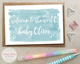 Personalised New Baby Boy Card - Welcome to the World