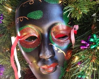 "Vintage Mardi Gras Porcelain Mask, hand painted, 7.5"""