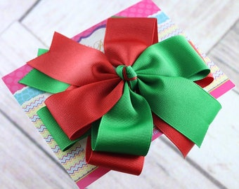 Baby Bows, Toddler Bows, Girls Hair Bows, Stacked Christmas Hair Bow Headband, Holiday Hair Bow Headband, Green Red Hair Bow, 5 Inch Bow
