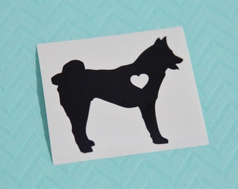 Akita With Heart Dog iPhone Car Laptop Vinyl Decal Sticker