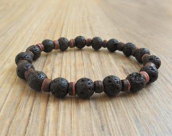 lava bracelet wood bead bracelet lava diffuser bracelet lava bead bracelet essential oil bracelet for him lava stone mens bracelet lava bead