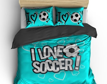 I Love Soccer Bedding, Turquoise or any color,  Personalized with your Name -Toddler, Twin, F-Queen or King Size