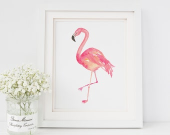 Flamingo Watercolor Print | Flamingo Art Print | Tropical Decor | Flamingo Decor | Beach House Decor | Island Art Print | Flamingo Painting