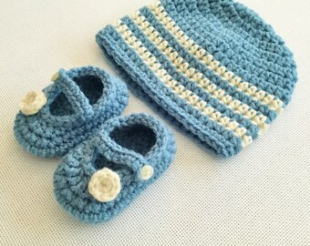 Baby Striped Beanie & Mary Jane Set - 0 to 3 Months, 3 to 6 Months, 6 to 12 Months - Any Color - Baby Girl, Baby Boy