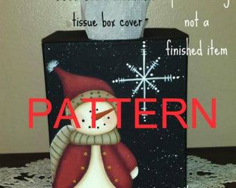 EPATTERN #0055 See a snowflake tissue box cover, digital download, painting pattern, decorative painting pattern, snowman epattern, tole